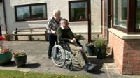 Ieuan Evans in his wheelchair