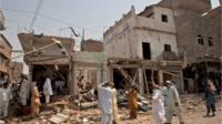 Bomb blast site in Karachi