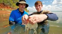 Simon Reeve with Jamie Seymour and a jellyfish