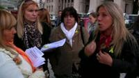 Women protesting outside the Supreme court in Buenos Aires