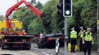 Scene of a crash near Rhoose Primary School