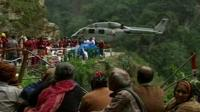 Rescue helicopter with stranded people