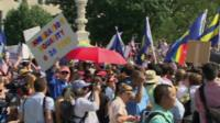 Crowds outside the US Supreme Court