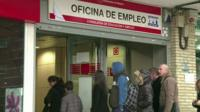 People queue at unemployment office