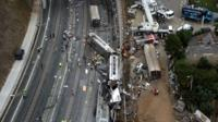 This aerial image taken from video shows a general view of the site of a train accident in Santiago de Compostela,