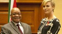 South African president Jacob Zuma and Charlize Theron
