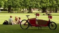 Family bike with Danish flags