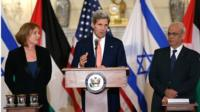 From left to right: Israel's chief negotiator Tzipi Livni, US Secretary of State John Kerry, and lead Palestinian negotiator Saeb Erekat