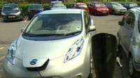 Cars at a charging point