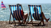 Sunbathers on beach