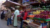 Street market stalls in Egypt