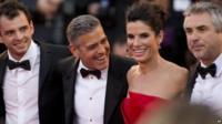 Jonas Cuaron, George Clooney, Sandra Bullock and Alfonso Cuaron