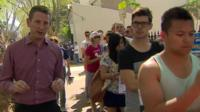 Jon Donnison at a polling station in Sydney