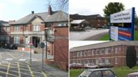 From left: Caerphilly District Miners Hospital (Pic: Peter Wasp), Wrexham Maelor Hospital and the former East Glamorgan Hospital