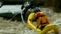Submerged car in Colorado flood