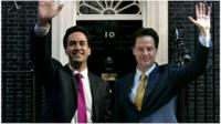 Photo-shopped picture of Labour leader Ed Miliband and Deputy Prime Minister Nick Clegg