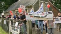 Pylons protest in Powys
