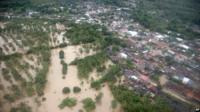 Aerial view of floods in San Jeronimo