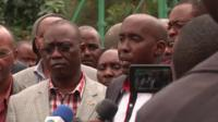 Interior Minister Joseph Ole Lenku briefing reporters.