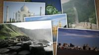 Postcards with pictures of some of the most famous world heritage sites.