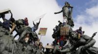 High school students demonstrate at the Nation Square in Paris, on October 18, 2013,