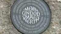 Plaque marking the fight to save the Gwendraeth Valley from being flooded to create a reservoir