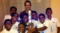 Mark Beaumont with a swimming team from the Maldives