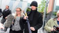 "Ray Teret (centre), 72, Jimmy Savile""s former flatmate and chauffeur, leaves Manchester Magistrates Court where he is charged with a series of serious sex offences against young girls"