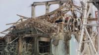 Damaged buildings at the Fukushima plant
