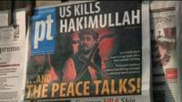 Newspaper front page in Pakistan reports the death of Taliban leader Hakimullah Mehsud