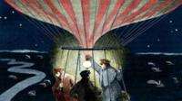 19th century balloon flight at night