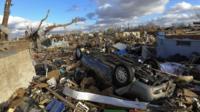Debris after a tornado struck Illinois