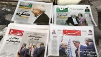 Newspapers on display in Tehran