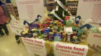 Food donations on a table in Tesco