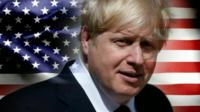 Boris Johnson in front of US flag
