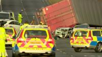 Overturned lorry in West Lothian