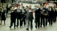 A miners band marches in support of Nelson Mandela when he was imprisoned