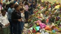 Tributes to Mandela outside his home