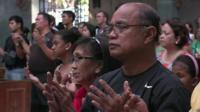 Worshippers in Tacloban