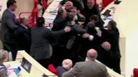 Members of parliament brawling