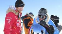 Prince Harry and a fellow adventurer arrive at the South Pole