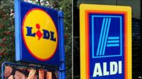 A sign for Lidl and Aldi