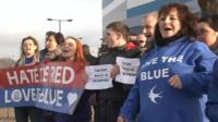 A group of Cardiff fans staged a protest outside the club on Friday