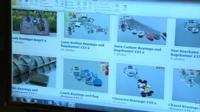 Computer screen showing counterfeit goods