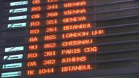 Airport departure board in Bucharest