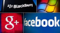 Company logos of Blackberry, Microsoft, Google and Facebook