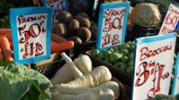Vegetables for sale on a market stall