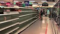 Shop shelves depleted of bottled water