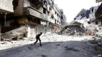 Yarmouk Palestinian refugee camp close to the centre of Damascus
