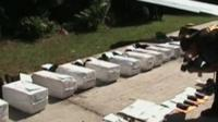 Cocaine lying on a landing strip in Guatemala